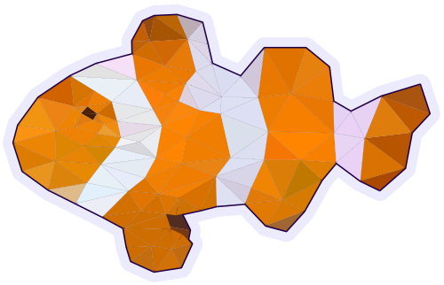 Picture of an Ocellaris clownfish in a triangulated style